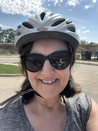 Beth Brockette in her bike helmet
